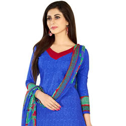 Remarkable Welcome Branded Cotton N Chiffon Printed Salwar Suit to Aslali