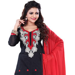 Spectacular Cotton Fabric Salwar in Black Colour to Amroha