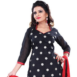 Resplendent Printed Cotton Black Salwar for Women to Tirunelveli