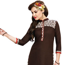 Traditional Cotton Suit Printed in Brown Colour for Women to Bihar