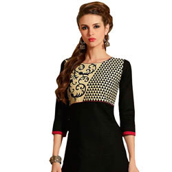 Trendsetting Printed Suit in Black Colour Collection to Behrampur