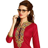 Impressive Cotton Suit Printed in Eye-Catching Red Colour to Nashik