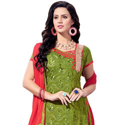 Breathtaking Chanderi Printed Salwar Suit to Amroha