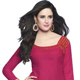 Vibrant Pink Cotton Patiala Suit to Bangalore