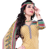 Catchy Yellow and Red Cotton Salwar Suit Set to Purulia