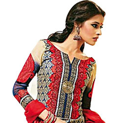 Designer Shobhas Black and Red Salwar Kameez of Cotton and Chiffon to Chandigarh