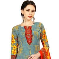 Dazzling Floral Print Designer Salwar Kameez Set in Spun Cotton Fabric to Tirunelveli