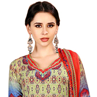 Vibrant Floral Print Spun Cotton Salwar Kameez Set for Women to Ankleshwar