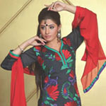 Classy Black and Red Cotton Salwar Kameez to Puzhal