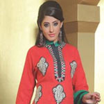 Vibrant Red and Teal Salwar Kameez to Patalganga