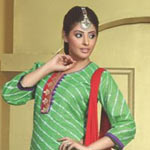 Fabulous Light Green and Red Cotton Salwar Kameez