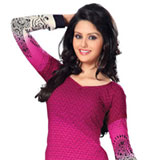 Charming Hot Pink Faux Georgette Unstitched Salwar Kameez