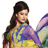 Outstanding Multicoloured Faux Georgette Saree to Patalganga
