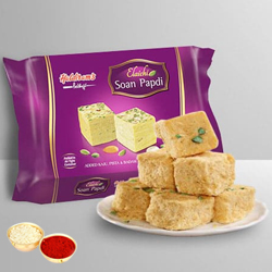 Soan Papdi from Haldiram with free Roli Tilak and Chawal. to Ahmadnagar