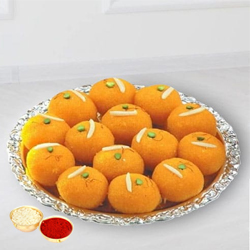 Haldiram tasty Pure Ghee Laddu  with free Roli Tilak and Chawal. to Bhavnagar