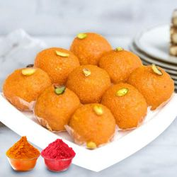 Irresistible Motichur Ladoo from Haldiram with free Gulal/Abir Pouch to Baharampur