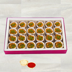 Kaju Pista Premium Sweets from Haldiram with free Roli Tilak and Chawal. to Baroda