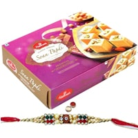 Soan Papdi from Haldiram with Free Rakhi , Roli Tilak and Chawal to India