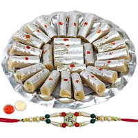 Mouth Watering Kaju Pista Roll from Haldiram with 1 Free Rakhi, Roli Tilak and Chawal  to Tirunelveli