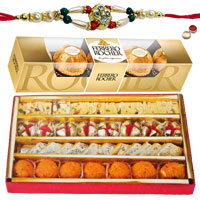 Haldiram Assorted Sweets with Ferrero Rocher Chocolates and a free Rakhi to Baghpat