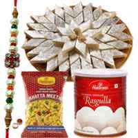 Exclusive sweet hamper from Halldiram with a free Rakhi, Roli tika and Chawal to Cochin