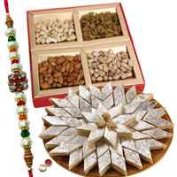 Special hamper with Haldiram sweets, Dry fruits, a free Rakhi, Roli Tilak and Chawal to Cochin
