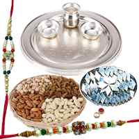 Special Silver Plated Thali with Haldiram Kaju Katli and Dry Fruits with Free Rakhi, Roli Tilak and Chawal to Ahmadnagar