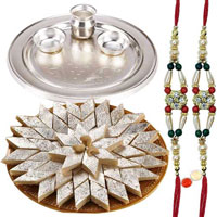 Rakhi hamper with silver plated thali, Haldirams Badam Katli with 2 free Rakhi, Roli Tilak and Chawal to Cochin
