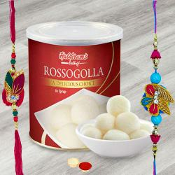 Tempting Haldiram Rosogollas with 2 Rakhis and Roli Tilak Chawal to Ajmer