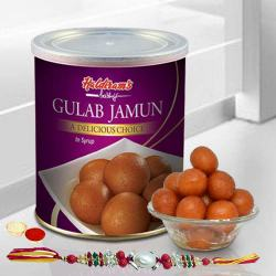 Lip-smacking Fresh Haldiram Gulab Jamuns with 2 Rakhis and Roli Tilak Chawal to Belgaum