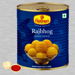 Haldiram Raj Bhog with free Roli Tilak and Chawal. to Baroda
