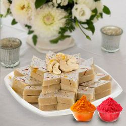Fresh Kaju Barfi with free Gulal/Abir Pouch to Agra