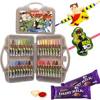 36 Pcs Coloring Set from Ben 10 with Rakhi and Roli Tilak Chawal to Ariyalur