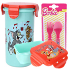 Outstanding Tom and Jerry Graphics Tumbler, Tiffin and Barbie Spoon Set for Kids to Barnala