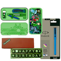 Eye Catching Display of Ben 10 Geometry Box with Happy Birthday SMS Chocolate and a Parker Beta Pen to Ashok Nagar