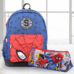 Wonderful Spiderman School Bag n Pencil Box Combo to Alagappapuram
