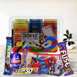 Exclusive Spiderman Kids Stationery, Color Set n Chocolates Combo to Adipur