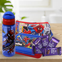 Wonderful Spiderman Kids Stationery, Canteen Set n Chocolate Combo to Alagappapuram