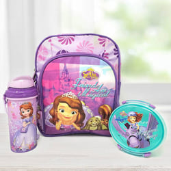 Amazing Princes Sofia Backpack with Lunch Box and Sipper Bottle to Allasandra