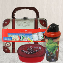 Mesmerizing Sipper Bottle, Lunch Box N Colour Set Combo to Adipur