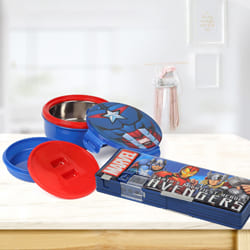 Outstanding Avengers Tiffin n Pencil Box Gift Combo to Adipur