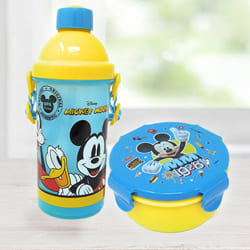 Mesmerizing Mickey Mouse Sipper Bottle n Tiffin Box Budget Combo to Agartala