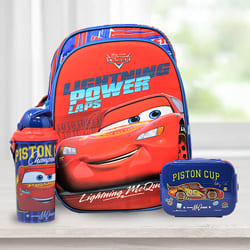 Attractive Cars Backpack with Lunch Box n Water Bottle to Ahmedgarh
