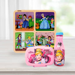 Exclusive Disney Cinderella Lunch Box n Water Bottle with Wooden Puzzle Combo to Adipur