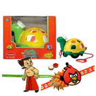 Twirly Whirly Turtle from Funskool with 2 Kids Rakhi and Roli Tilak Chawal to Ariyalur