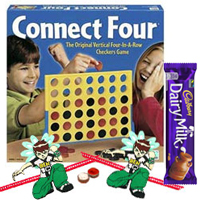 Connect 4 � A Classic game for All Ages with 2 Ben 10 Rakhi with 1 Cadbury Dairy Milk Chocolate Bar (13 gm) and Roli Tilak Chawal to Nakoda