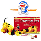 Amazing Funskool  Diggler Dog Gift with free Rakhi, Roli Tilak and Chawal to Ariyalur