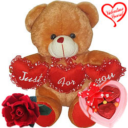 Lovely Brown Teddy with Velvet Rose N Chocolate Co... to Hyderabad