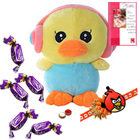 Crazy Duck with Earphone with Angry Bird Rakhi and Chocolates Roli Tilak Chawal to Ariyalur
