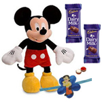 Adorable Disney Mickey Mouse Soft Toy and Chocolates with Kids Rakhi and Roli Tilak Chawal to Ariyalur